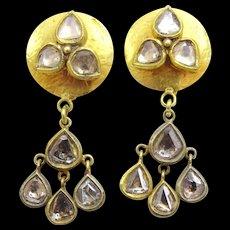 Handmade 18 karat Gold and Polki Diamonds