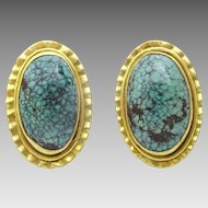 Original Hand made 18 karat Gold and Tibetan Turquoise Earrings