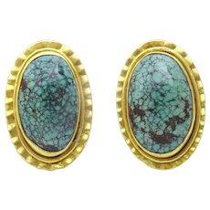 Original Hand made 18 karat Gold and Tibetan Turquoise Earrings