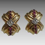 Vintage 14 karat Gold Bow Earrings set with Rubies and Diamonds