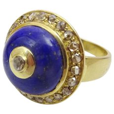 Handmade Lapis Lazuli , Diamond and 18 karat Gold Ring