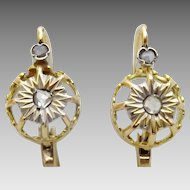 French Dainty Vintage 18 karat Gold and Diamond Earrings