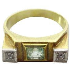 Vintage 1950's Emerald and Diamond 14 karat Gold Ring