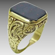 Man's  Vintage 14 karat Gold Engraved Ring with Blood stone