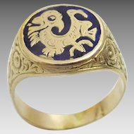 Unisex 14 karat Gold dragon ring with enamel and engraving.