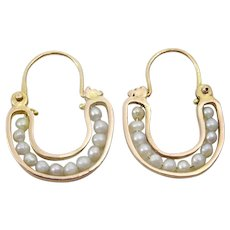 Handmade 9 karat red Gold Hoops with Pearls