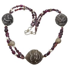 Garnet . pearl , old silver and African Spindle Beads Necklace