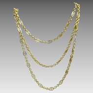 Unique Vintage French 18 karat hollow  Gold Necklace
