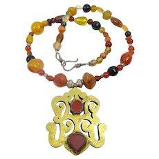 Carnelian, Onyx and Glass Necklace + Turkeman Center Piece