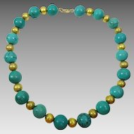 Turquoise and 18 karat Gold Wax Beads Necklace