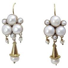 Handmade 9 karat Gold and Pearl Earrings