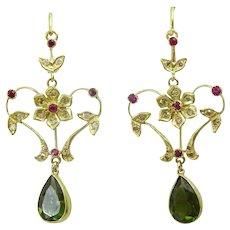 Handmade Classical 18 karat Gold , Diamond , Ruby and Green Tourmaline Earrings