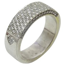 Vintage 18 karat White Gold and Pave Diamond Ring