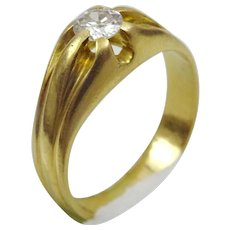 Handmade Vintage 18 karat gold and old cut diamond Ring