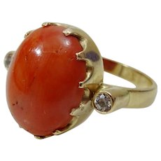 Vintage Coral and Diamond 14 karat Gold Ring