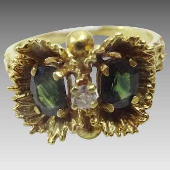 "Vintage 14 karat Gold Sapphire , Diamond ""Owl Ring """