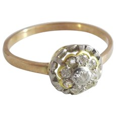 Vintage 9 and 14 karat Gold Diamond Flower Ring
