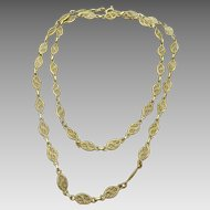 Vintage French 18 karat Gold Filigree Necklace