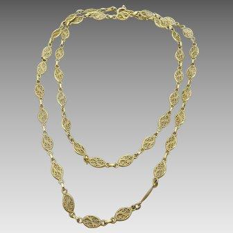 Vintage French 18 karat Gold Filigree Necklace