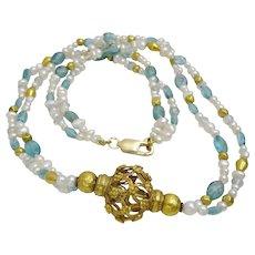 Freshwater Pearls ,Appetite , 18 karat Gold Wax Beads and Uzbeki center piece Necklace