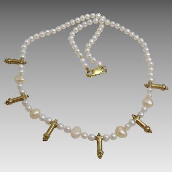 Pearl Necklace with 18 karat Gold Yemenite Phallic symbols