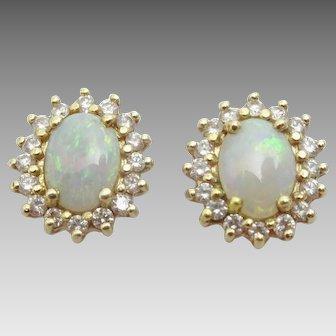 Opal , Diamond and 14 karat Gold Vintage Earrings