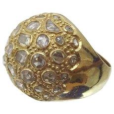 Unique Modern 14 karat Gold Diamond Cluster Ring