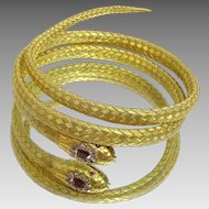 Vintage 14 karat Gold Diamond and Pigeon Blood Ruby flexible bracelet