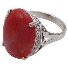 Vintage 14 karat White Gold and Diamond Ring