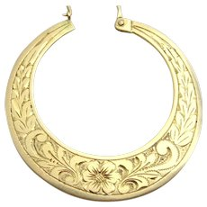 Handmade Engraved 14 karat gold Moroccan Earrings
