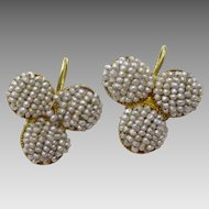 "Antique "" Victorian "" Bahrain Pearls  14 karat Gold Earrings"
