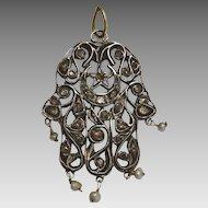 Vintage Tunisian Silver and 10 karat Gold Hamsa (hand of fatime) set with Diamantes.