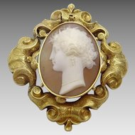 Antique 14 -18 karat Gold Engraved Reppouse Cameo