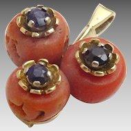 Vintage 14 karat gold Coral and Sapphire Pendant