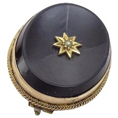 Antique 9k Gold and Onyx Mourning Brooch