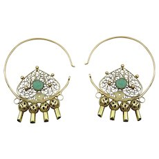 Traditional Vintage 18 karat gold  and Turquoise earrings from Uzbekistan