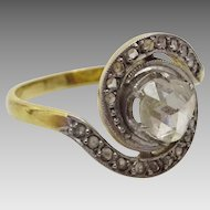 Art Deco 18 karat White and Yellow Gold Spiral Diamond Ring