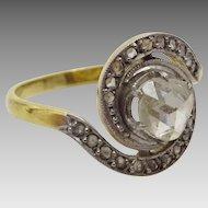 Vintage Art Deco 18 karat White and Yellow Gold Diamond Ring