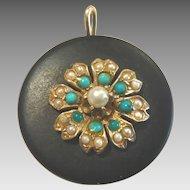 Vintage 14 karat Gold Onyx Turquoise and Pearl Pendant