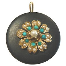 Vintage 14 karat Gold Onyx Turquoise and Pearl Pendant