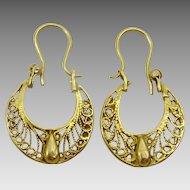 Vintage 22 karat Gold Earrings from Kurdistan
