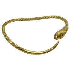 Vintage 21 karat Gold North African Snake Bracelet
