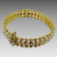 "Vintage Iraqi Pearl and Gold Bracelet ""Lulu"""