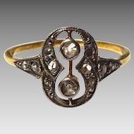 Art Deco 18 k Gold and Diamond Ring