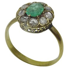 French Vintage 18 karat Gold Emerald and Diamond Ring