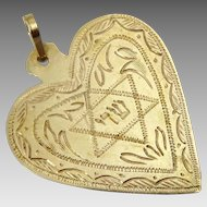 "Amazing Vintage 14 karat Gold Heart and Sheddai שד""י Amulet"