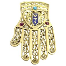 Vintage 14 karat Gold Hamsa ( Hand of Fatima ) with Turquoise , Enamel and Rubies