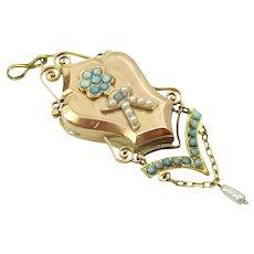 Vintage 18 karat Gold Turquoise and Pearl Locket Pendant