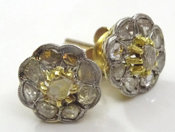 Vintage 14 Karat Gold And Diamond Post Earrings