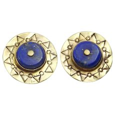 Handmade 9 karat Gold and Lapis stamped clip earrings